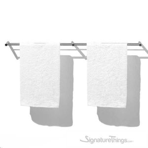 Modern Brushed Stainless Steel Double Towel Holder