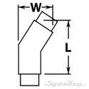 "Brass Flush 147 Degree Angle Elbow Fitting For 1.5"" & 2"" Tubing   Brass Railing Hardware"