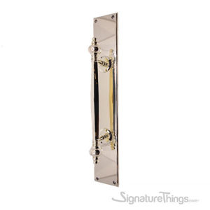Beveled Edge Plain Push Plate With Finial Door Pull