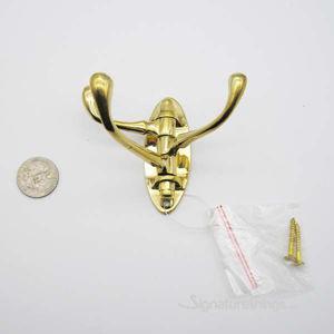 Triple Swivel Wall Hook Brass