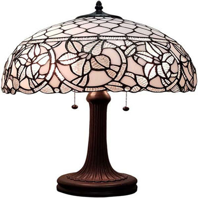 Tiffany Style Floral White Table Lamp 21 In wide