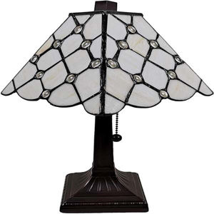 Tiffany Style Mission Jeweled Table Lamp 8 Inches Wide