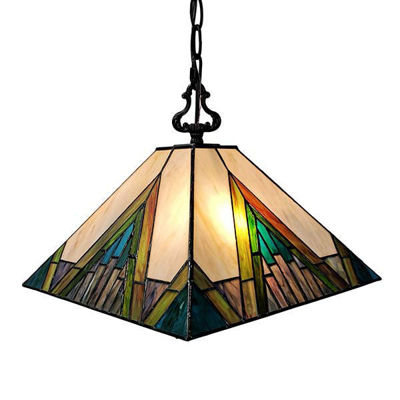 Mission 2-light Tiffany Style Hanging Lamp