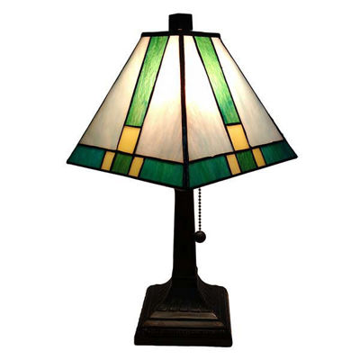 "Tiffany Style Table Lamp Banker Mission 14.5"" Antique Vintage Light"