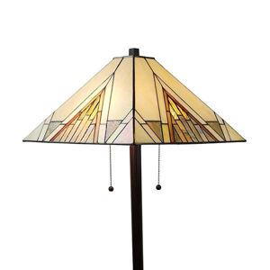 """Tiffany Style Mission Standing Floor Lamp 62"""" Gold Antique Vintage Light"""