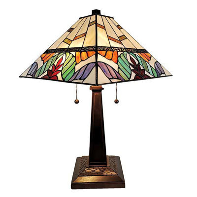 "Tiffany Style Table Lamp Banker Mission 22"" Ivory Colorful Leaves Antique Vintage Light"