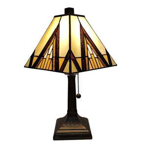 """Tiffany Style Table Lamp Banker Mission 14.5"""" Ivory Orange Antique Vintage Light"""