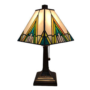 """Tiffany Style Table Lamp Banker Mission 14.5"""" Ivory Green Antique Vintage Light"""