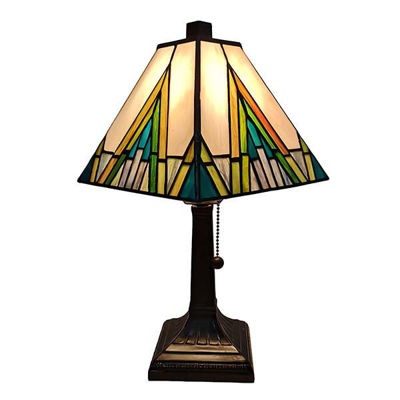"Tiffany Style Table Lamp Banker Mission 14.5"" Ivory Green Antique Vintage Light"
