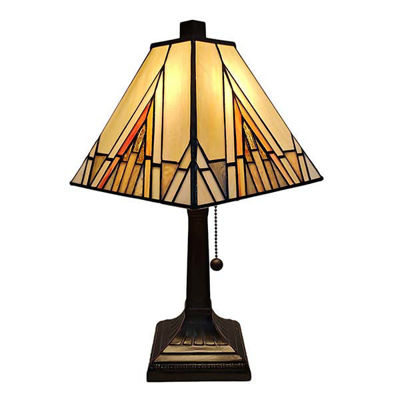 "Tiffany Style Table Lamp Banker Mission 14.5"" Tall Stained Glass Ivory Orange Antique Vintage Light"