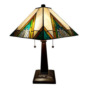 """Tiffany Style Table Lamp Banker Mission 22"""" Tall Stained Glass Ivory Green Antique Vintage Light"""