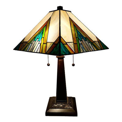 "Tiffany Style Table Lamp Banker Mission 22"" Tall Stained Glass Ivory Green Antique Vintage Light"