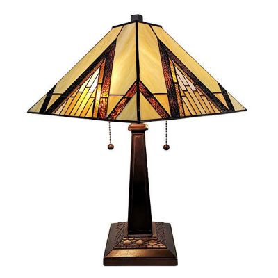 "Tiffany Style Table Lamp Banker Mission 22"" Tall Stained Glass Yellows Ivory Brown Antique Vintage Light"