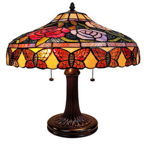 """Tiffany Style Table Lamp Banker 23"""" Red Green Tan Floral Flower Butterfly Antique Vintage Light"""