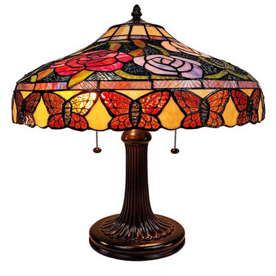 "Tiffany Style Table Lamp Banker 23"" Red Green Tan Floral Flower Butterfly Antique Vintage Light"