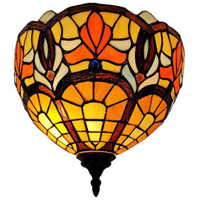 Tiffany Style Victorian Design Wall Lamp 12 In Wide