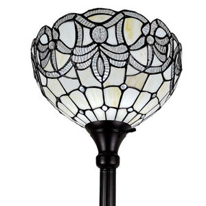 Tiffany Style 72 Inches Tall White Color Torchiere Floor Lamp