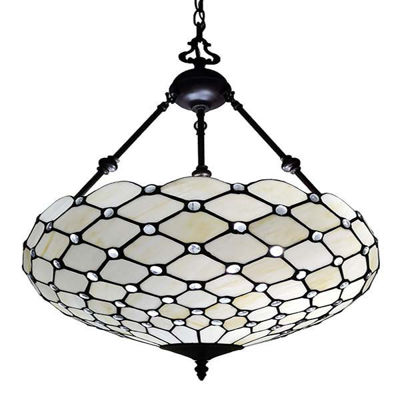 Tiffany Style Ceiling Hanging Pendant Lamp 18-Inch 2 Lights, White