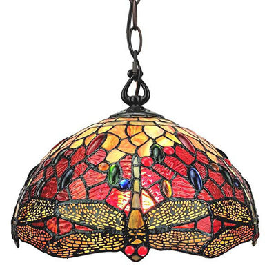 Tiffany Style Dragonfly Hanging Lamp 2 light