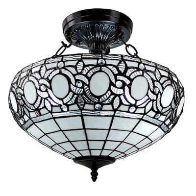 Tiffany Style White 2-light Ceiling Fixture