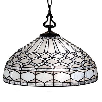 Tiffany Style Royal White Hanging Lamp 18 In Wide