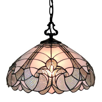 Tiffany Style 16 Inches Wide White Hanging Lamp