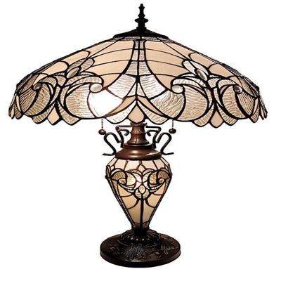Tiffany Style Floral White Double Lit Table Lamp 23 Inches Height