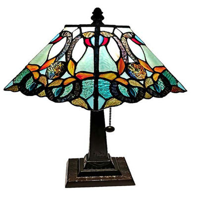 Tiffany Style 8 Inches Wide Floral Mission Style Table Lamp