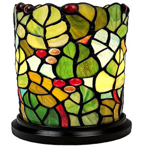 Tiffany Style Leaves And Berries Accent Table Lamp
