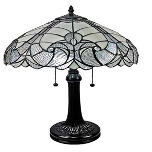Tiffany Style White Table Lamp 23 In High
