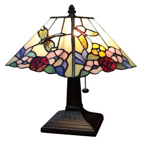 Tiffany Style Floral Mission Style Table Lamp 8 Inches Wide