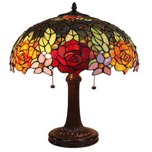 Tiffany Style Roses Table Lamp 23 In