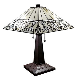 Tiffany Style 22 Inches Tall White Floral Mission Table Lamp