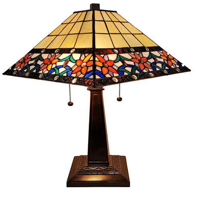 Tiffany Style 23 In High Floral Mission Table Lamp