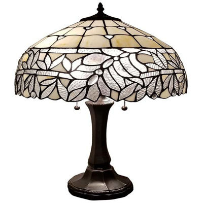 Tiffany Style Floral White Table Lamp