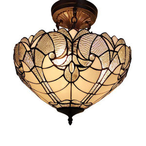 Tiffany Style Semi Flush Mount Ceiling Fixture 16 In Wide