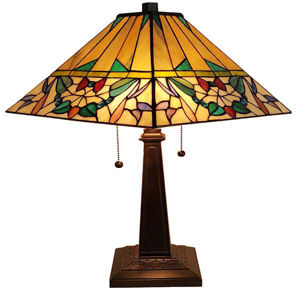 Tiffany Style 22 Inches Tall Mission Table Lamp - Multi Color