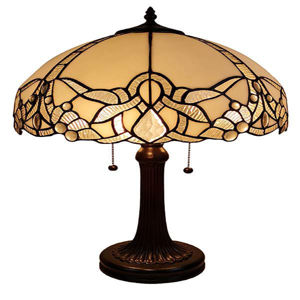 Tiffany Style Jeweled White Table Lamp 24 In High