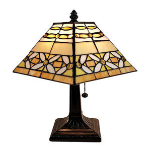 Tiffany Style Mission Jeweled Table Lamp 8 In Wide