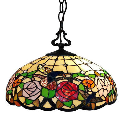 Tiffany Style Hummingbirds Floral Hanging Lamp Wide 16 In