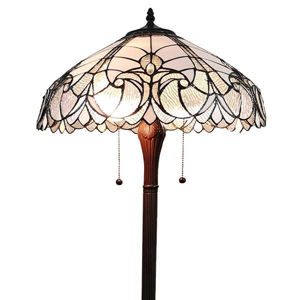 Tiffany Style Floral White Floor Lamp 62 In High