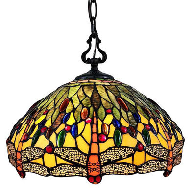 Tiffany Style Dragonfly Hanging Lamp 18 Inches