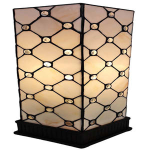 Tiffany Style Table Lamp White JEWEL 18 In
