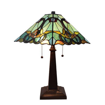 Tiffany Style Floral Mission Table Lamp 23 In High