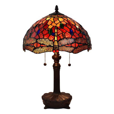 Tiffany Style Dragonfly Table Lamp 2 light