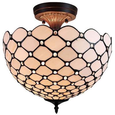 Tiffany-Style Jewel 2-Light Semi-Flush Ceiling Fixture, 16-Inch