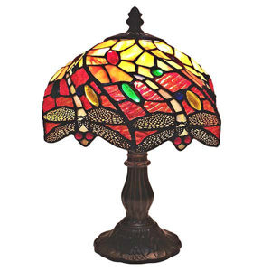 Tiffany Style Dragonfly Table Lamp 8 Inches Wide