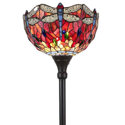 Tiffany Style Dragonfly Torchiere Floor Lamp 72 In