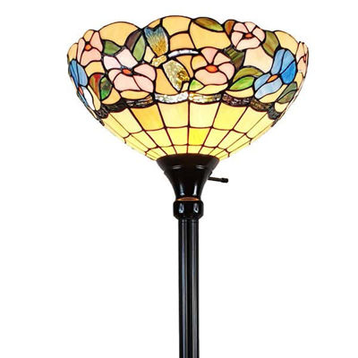 Tiffany-style Hummingbirds Floral Torchiere Floor Lamp 70 Inches Tall