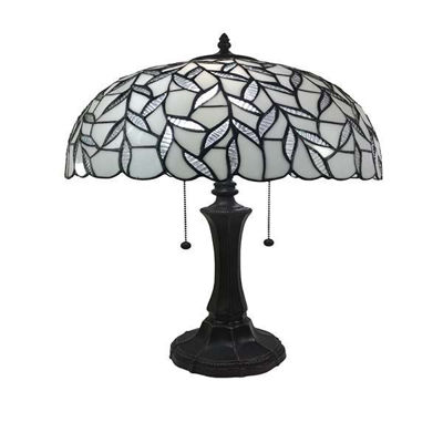 Tiffany Style White Table Lamp 23 in wide